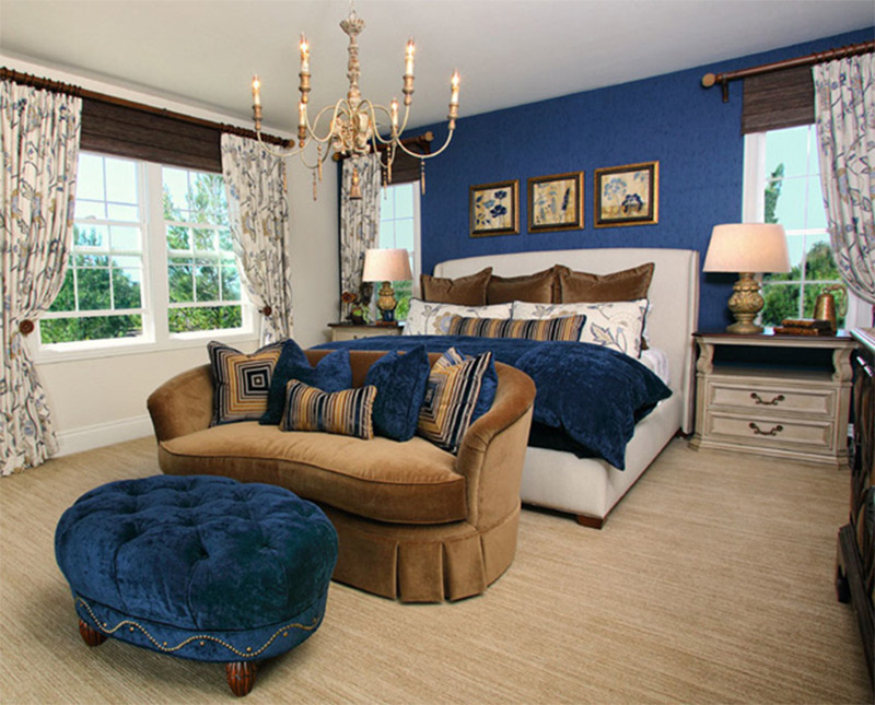 bedroom couches. royal blue master bedroom interior luxury sofa ottoman Lovely Bedroom Interiors with Sofas and Couches  Full Home Living