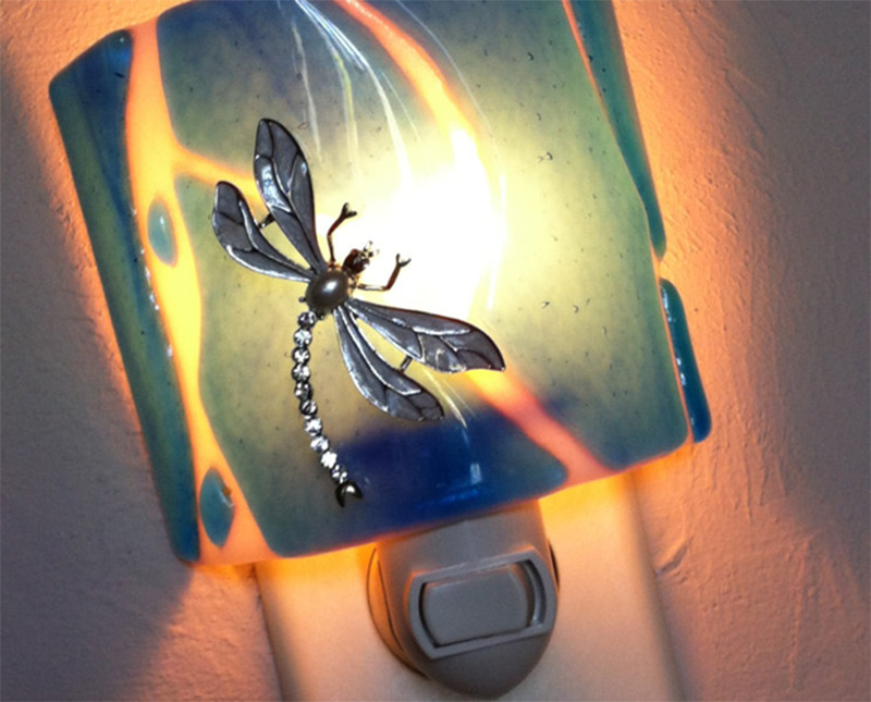 aqua fused glass rhinestone dragonfly nightlight