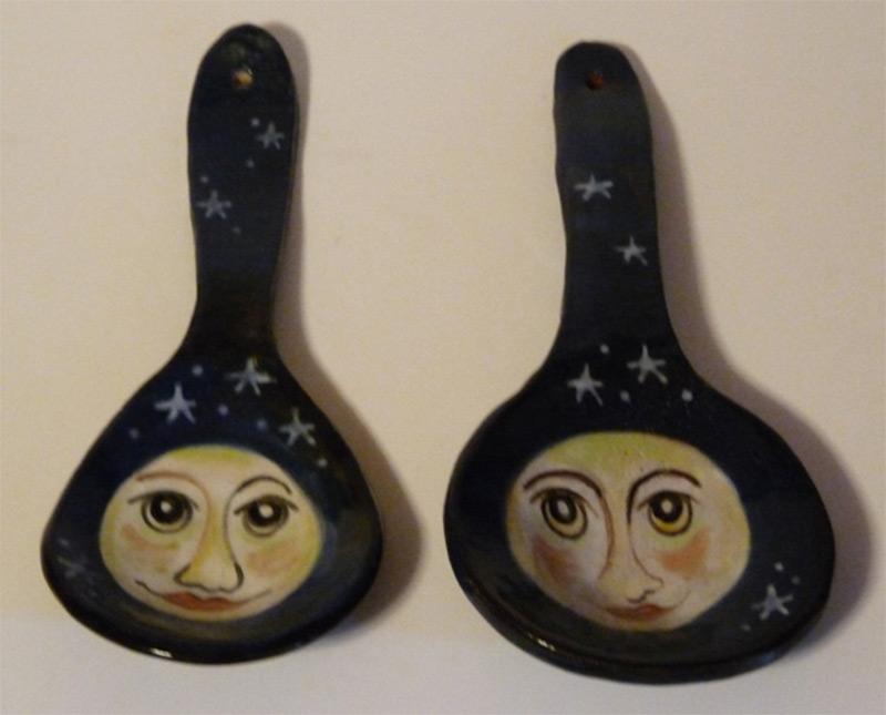 spoons custom design man on the moon face