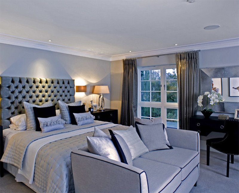 bedroom blue teal in ceiling speakers lights sofa Lovely Bedroom Interiors with Sofas and Couches  Full Home Living