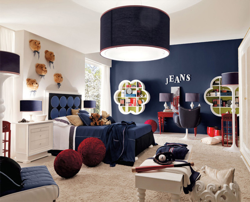 clean blue jeans wall teddy bears kids interior