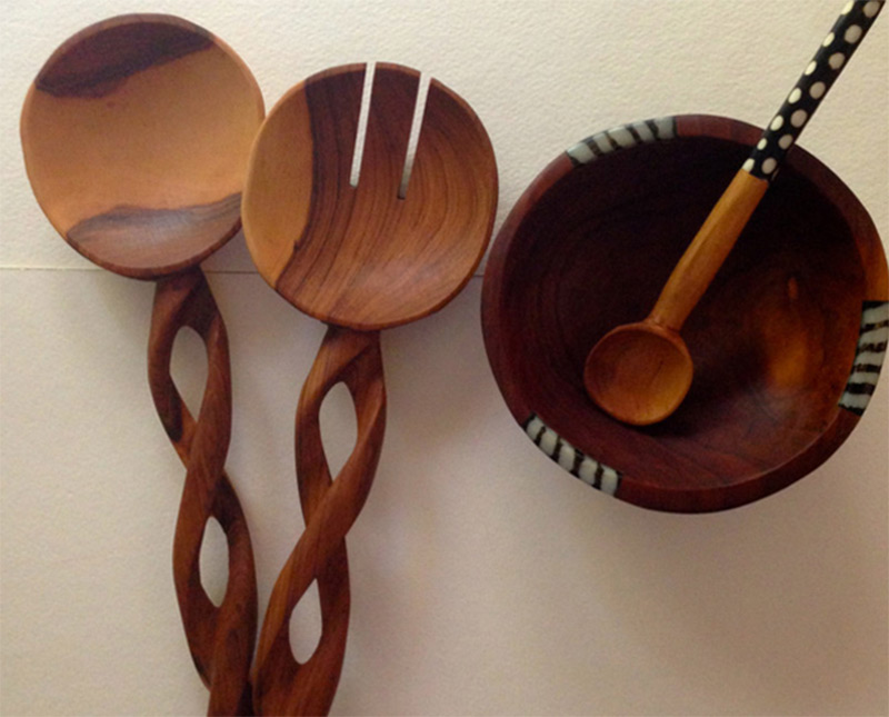 handmade wooden spoons curvy spiral handle