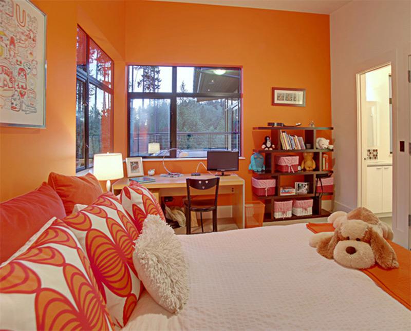 cute orange colorful bright fluffy bedroom kids interior