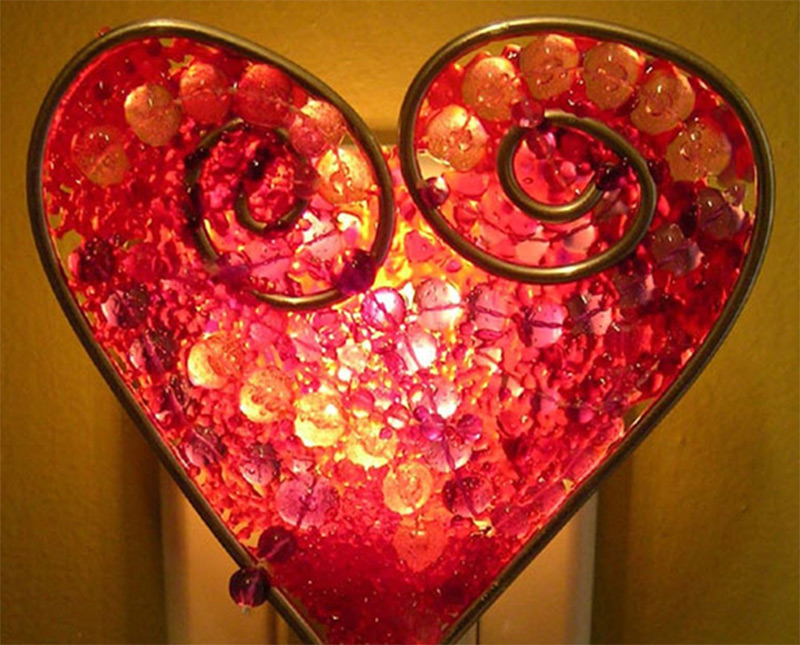 red gems heart shape mardis gras nightlight