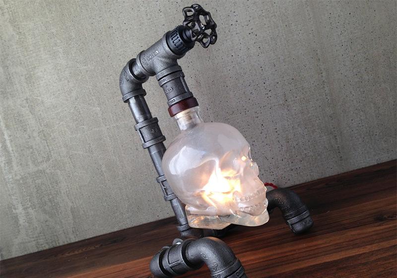crystal pipes metal skull steampunk lamp
