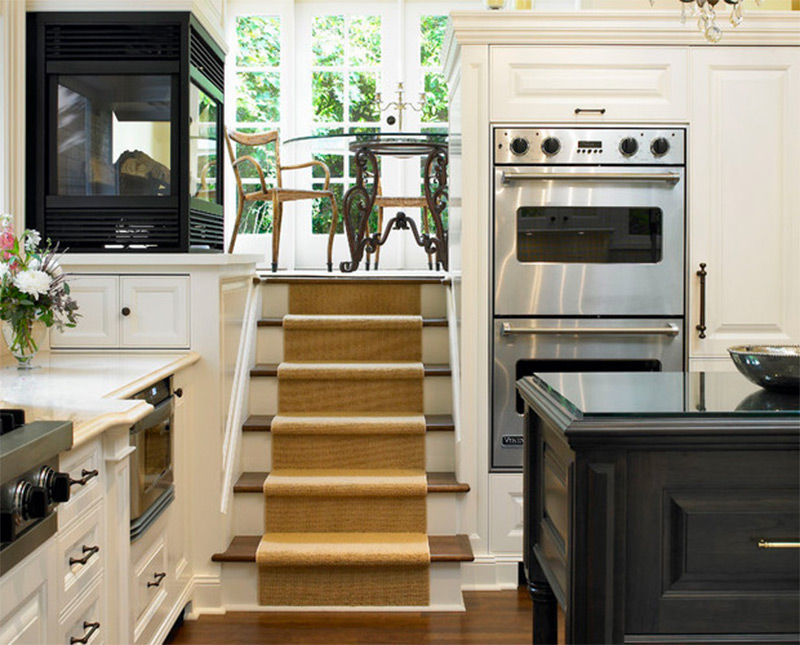 stairs dining room table kitchen sunk fireplace